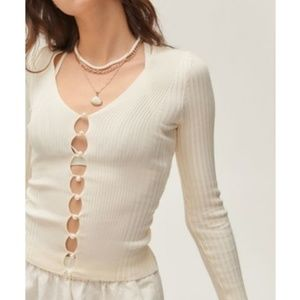 NWT UO Bonnie Pearl Button-Up Sweater
